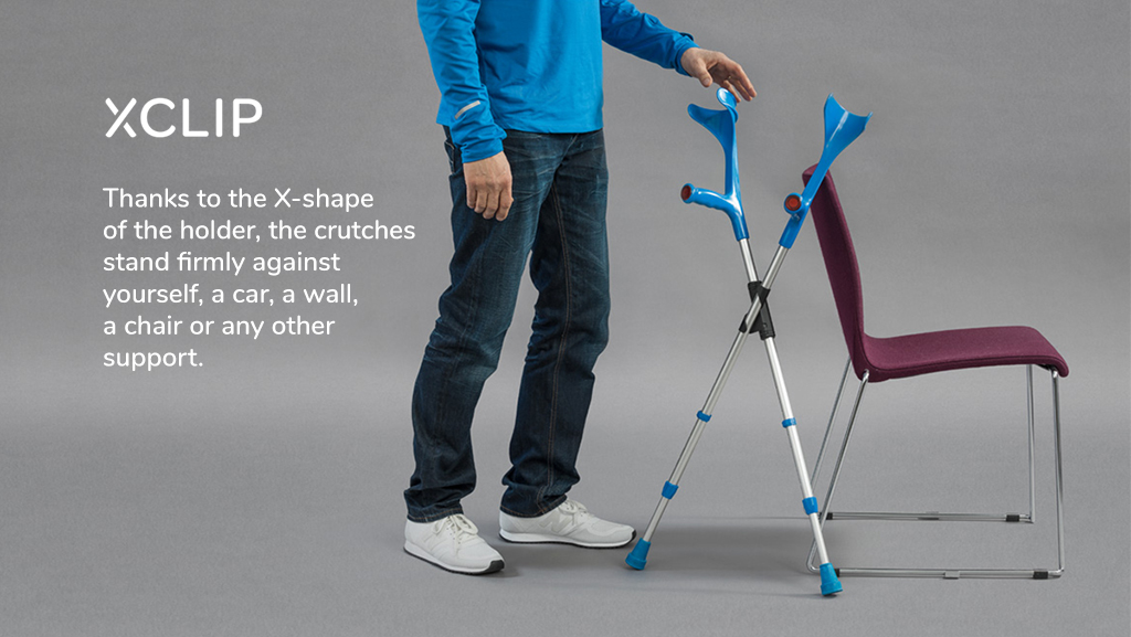 Use XCLIP crutch holder, and you are always in control of your forearm crutches. They don't fall down.