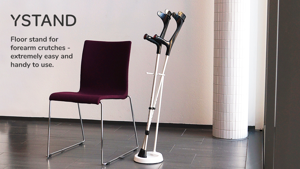 The YSTAND is the great solution for problems with falling forearm crutches and walking sticks.