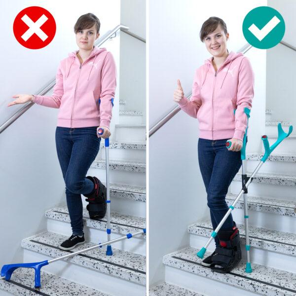 Nainen nyrpeänä portaissa, toinen kyynmärsauva maassa. Nainen iloisena portaissa toinen kyynärsauva on XCLIPillä kiinnitettynä toiseen sauvaan.