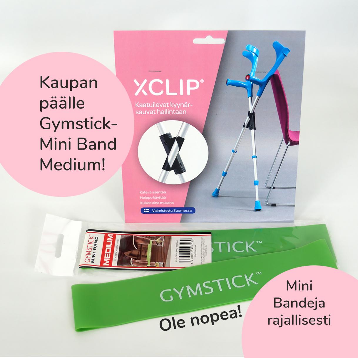 TARJOUS! Tilaa XCLIP-kyynärsauvapidike, saat Gymstick Mini Bandin kaupan päälle