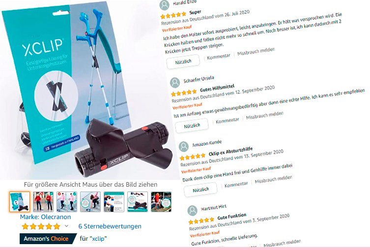 XCLIP-kyynärsauvapidike on saanut viiden tähden palautteita Saksassa Amazon.de -verkkokaupassa.